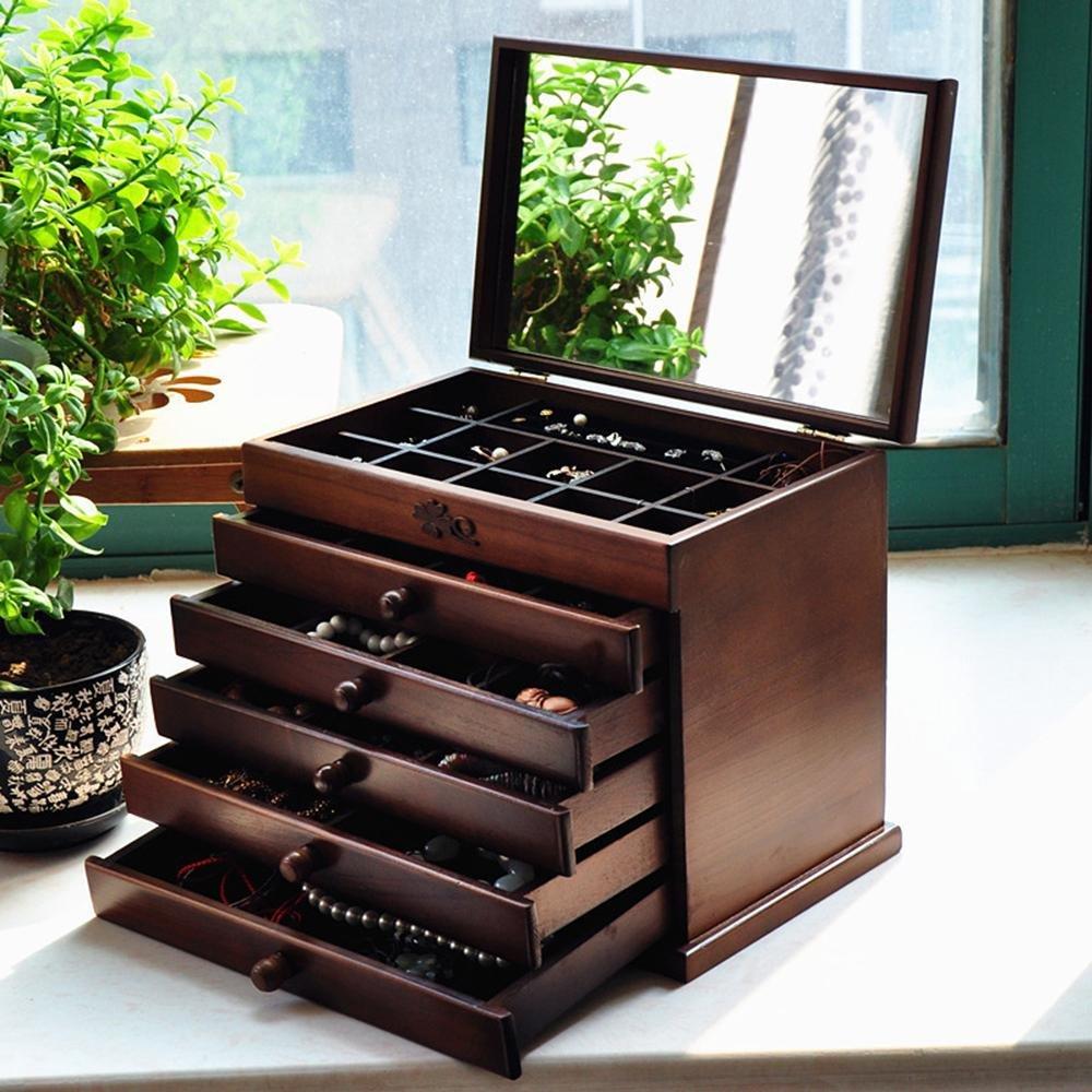Cosy-L Gabinete Caja Joyero Cajonera Organizador Joyas Aretes Dijes anillo de la pulsera joyería caja de almacenamiento collares para bisuterías relojes cosméticos x768 , A , long 32* wide 20.5* high 25 cosy factory.com