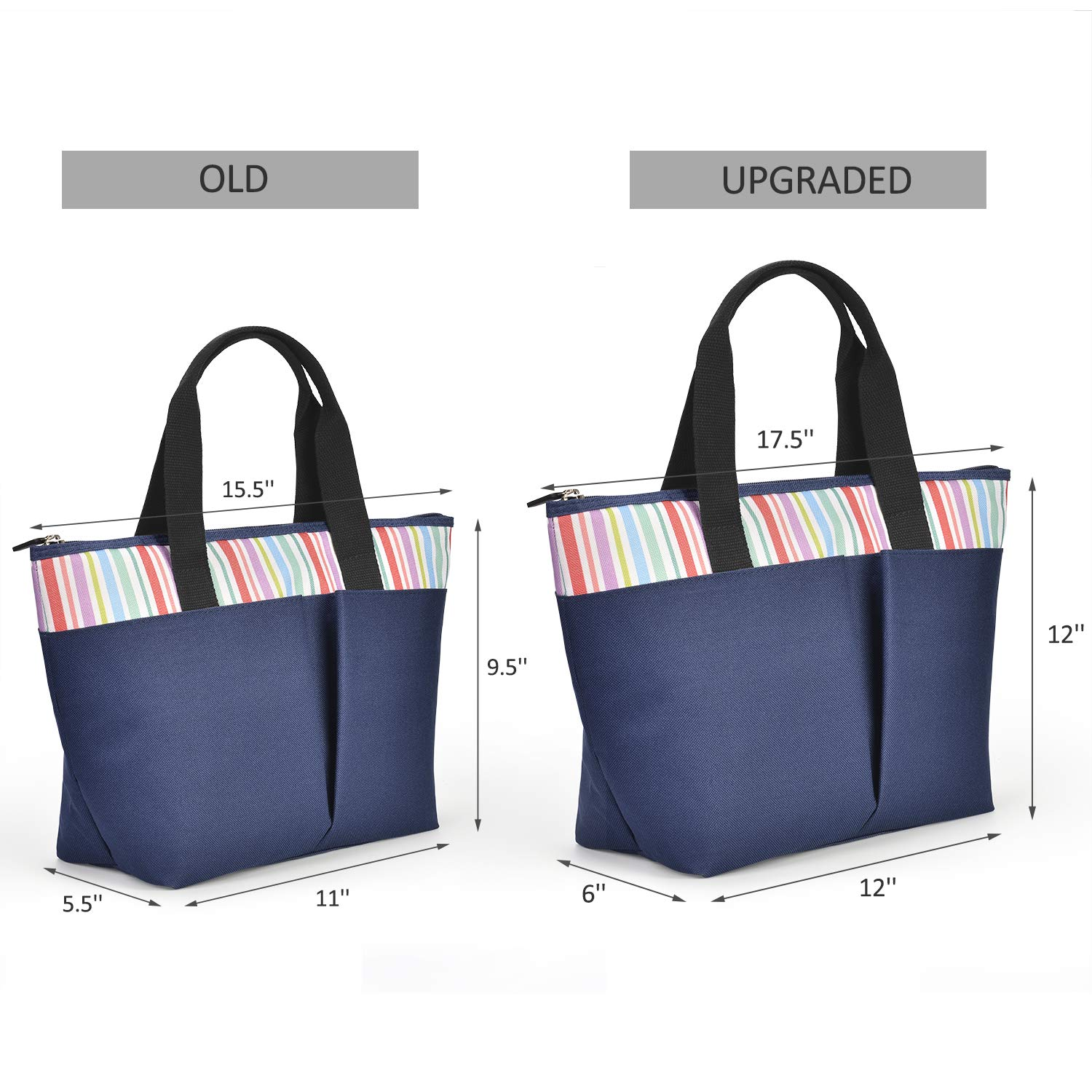 LEADO Insulated Lunch Box, Lunch Cooler Bag for Women Girls Reusable Large Capacity Lunch Tote Organizer Bag Handbag Meal Prep Thermal Bag, Striped Navy Blue