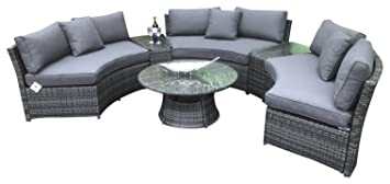 Awesome Signature Weave Jamaica Half Circle Sofa Set Grey Machost Co Dining Chair Design Ideas Machostcouk