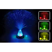 Playlearn Fibre Optic Colour Changing Lamp, Crystal Filled Base - 4 Colours Battery Operated, For Kids, Adults - 13 Inch Mood Novelty Lamp Bedroom or Table Decoration