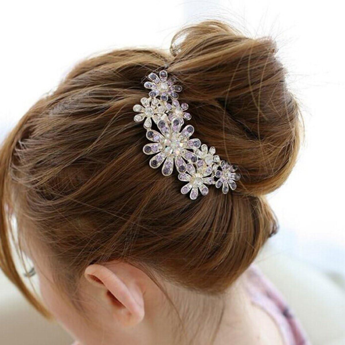 Frcolor Diamantes de imitación de cristal de la mujer meta peine flor pelo Pin