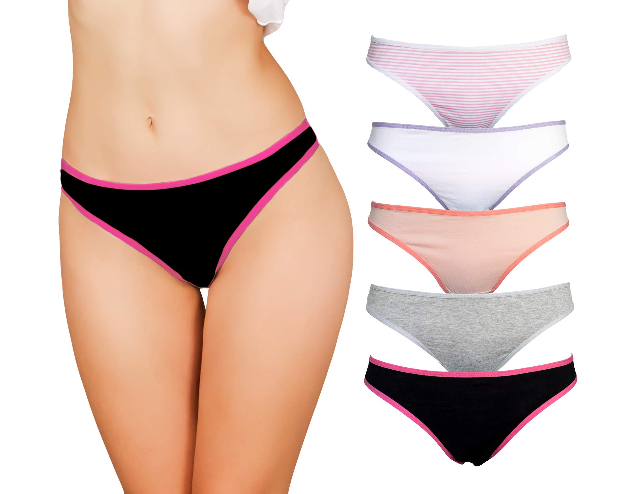 4ef77b0ed0ba Emprella Cotton Thongs for Women, 5 Value Pack of Seamless Underwear,  Breathable and Low