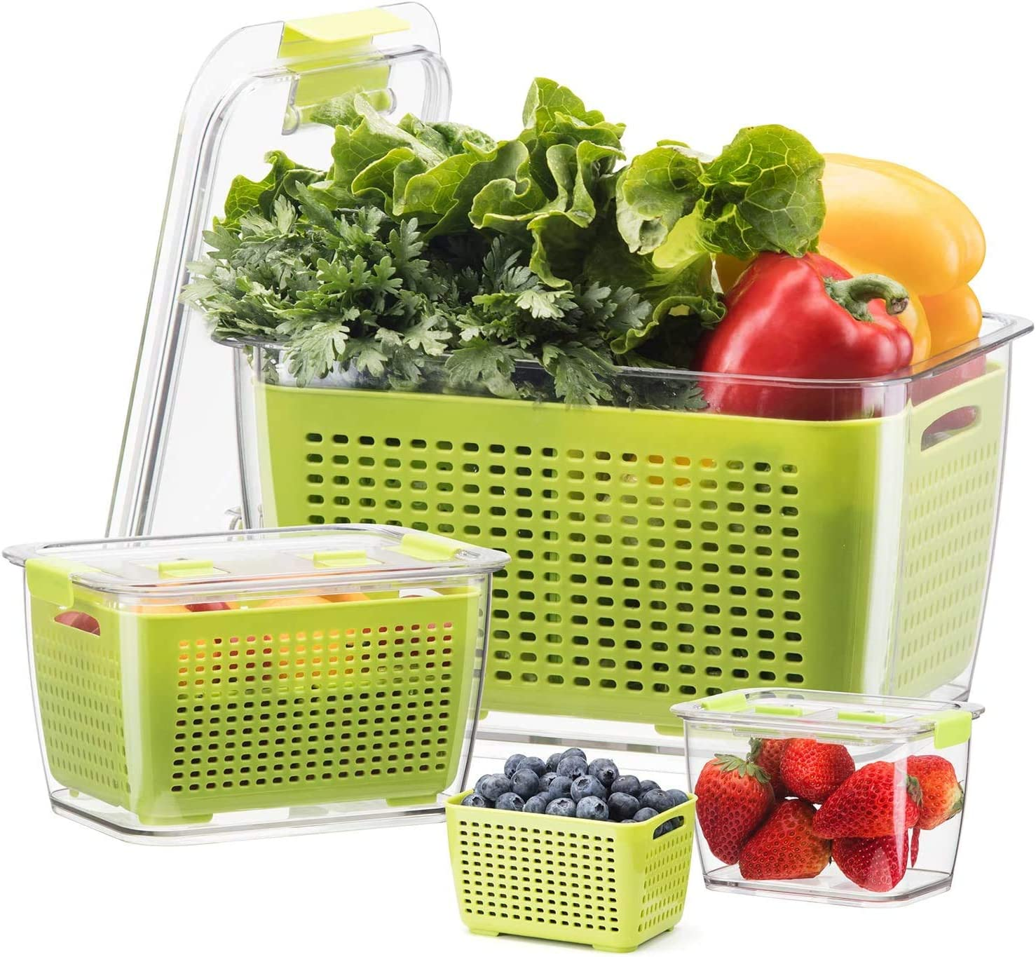 LUXEAR Fresh Container, 3PACK Produce Saver Container BPA Free Vegetable Storage Containers Fruit and Salad Partitioned Food Storage Container with Vents Stay Fresh Containers for Refrigerator