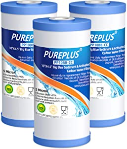 "PUREPLUS 5 Micron 10"" x 4.5"" Whole House Big Blue Sediment and Activated Carbon Water Filter Replacement Cartridge Compatible with GE FXHTC, GXWH40L, GXWH35F, GNWH38S, 3Pack"