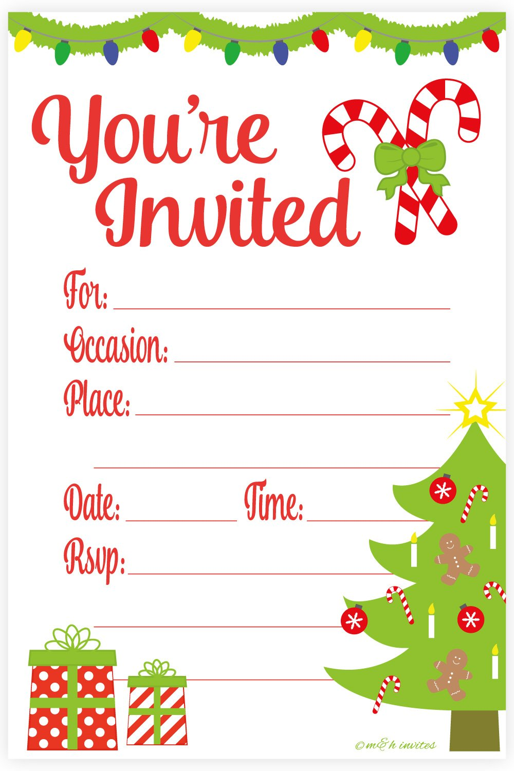 Amazon.com: Festive Christmas Party Invitations - Fill In Style (20 ...