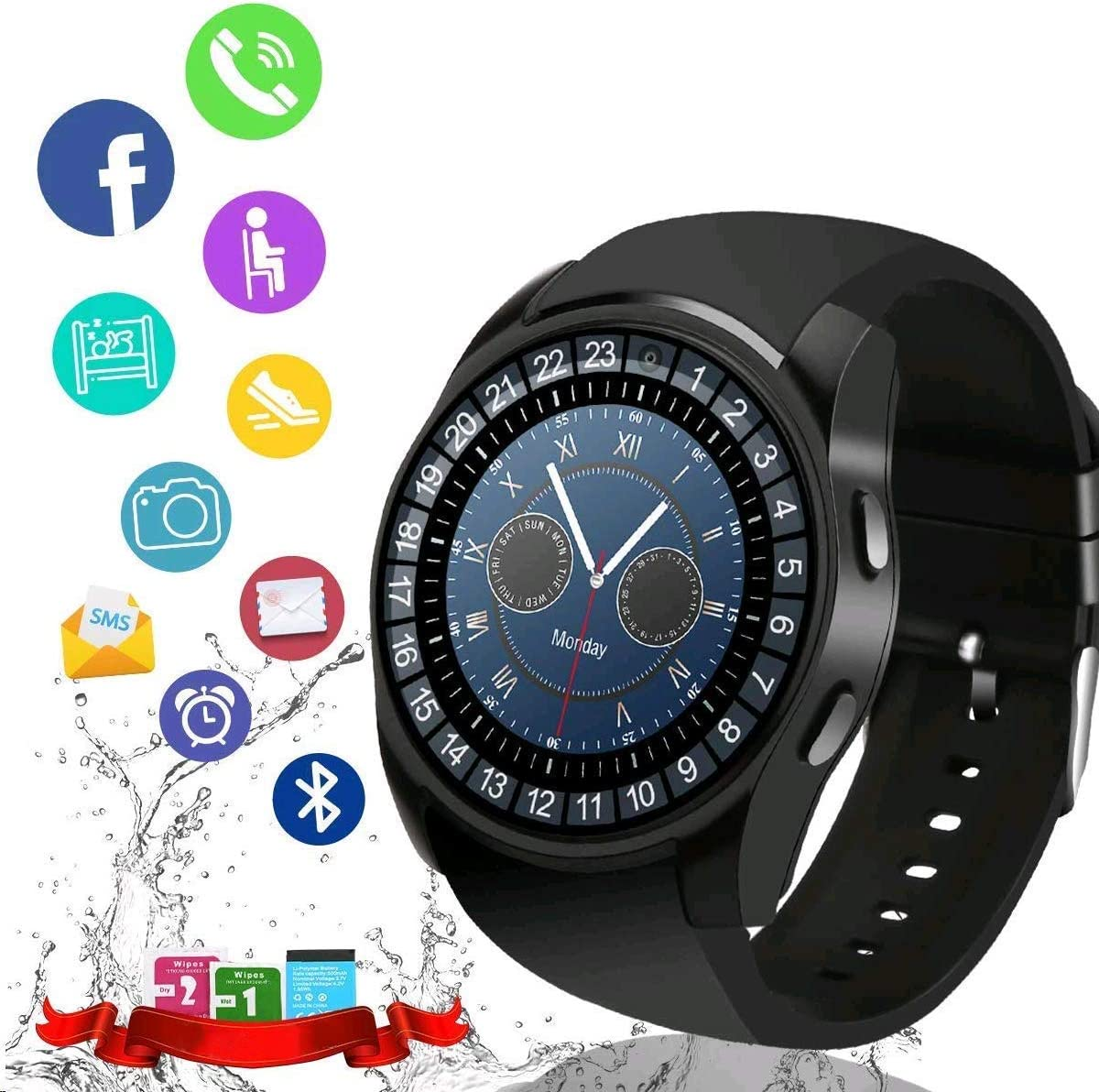 iFuntecky Smart Watch,Bluetooth Smartwatch Touchscreen with Camera, Smart Watches Waterproof Smart Wrist Watch Phone Compatible Android for Men Women ...