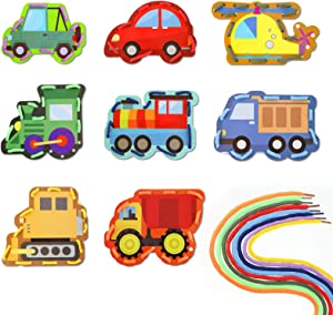 Zonon 8 Pieces Traffic Theme Lacing Cards Transportation Sewing Cards in 8 Patterns Traffic Lacing Games for Developing Imagination Education Supplies