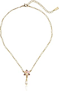 """product image for 1928 Jewelry Gold-Tone Crystal Pink Porcelain Rose Simulated Pearl Adjustable Pendant Necklace, 16"""""""