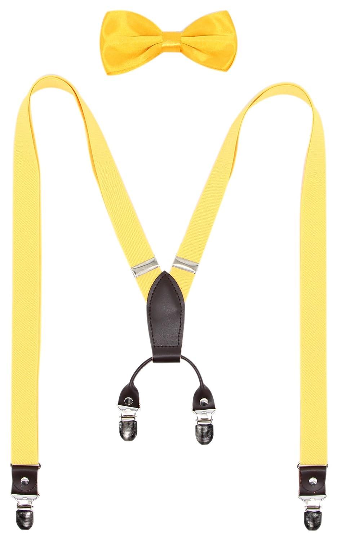 Bioterti Men' s X-back Suspender & Bowtie Set For Wedding/Party (Solid Coffee) HJKL-4