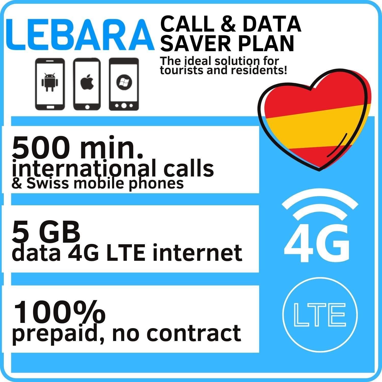 Tarjeta SIM Prepago para España con 5GB de datos y 500 Minutos Llamadas Internacionales: Amazon.es: Electrónica