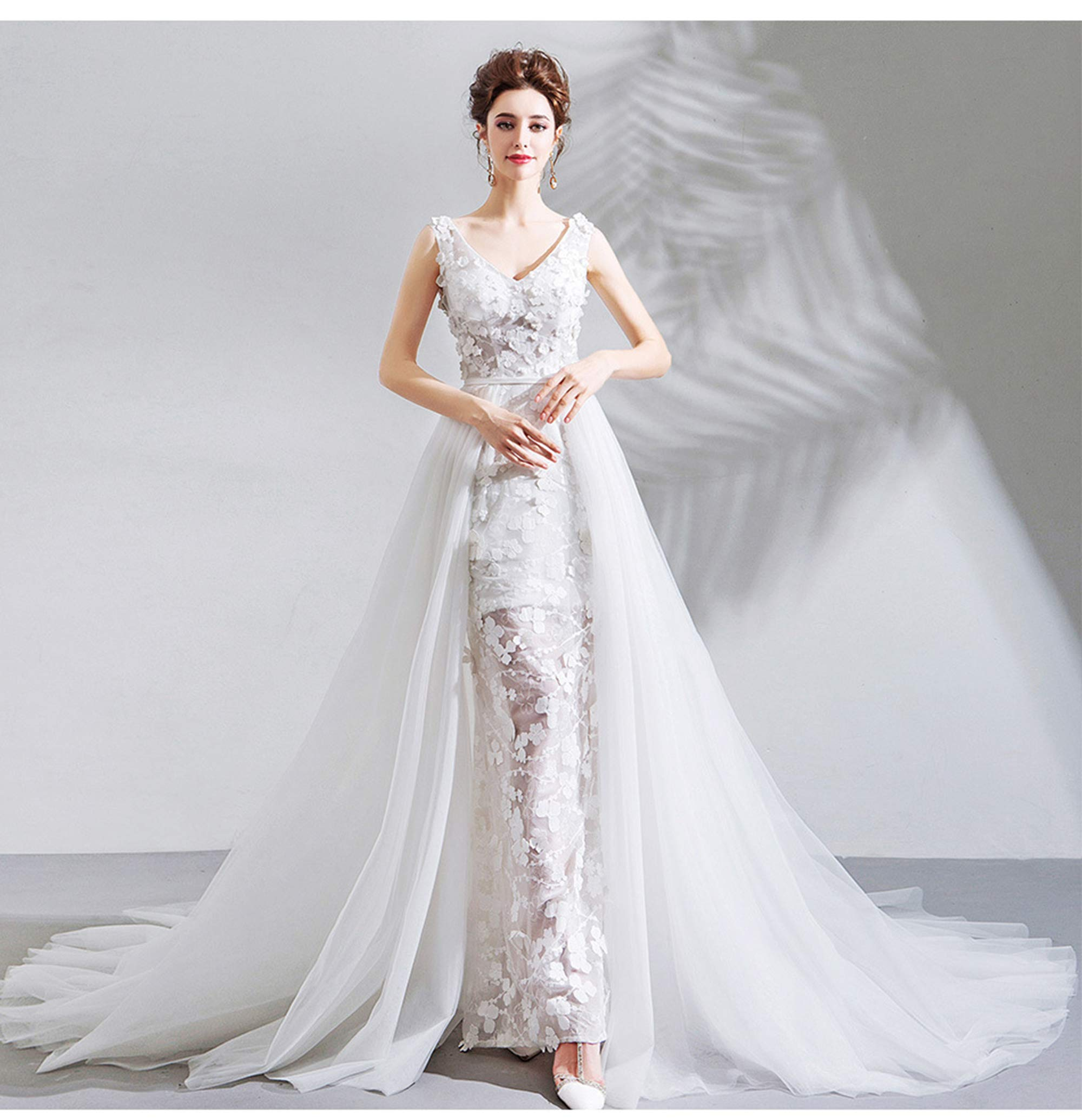 NOMSOCR Women's Lace V Neck Sleeveless Wedding Dresses Mermaid Bridal Gown (M, White) by NOMSOCR (Image #6)