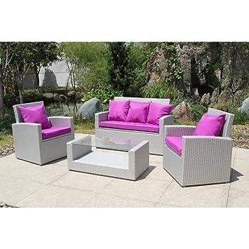 Flowuzz Garden - Salon de jardin 5 places - PVC-CONFORT-MED ...