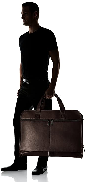 "Leather Laptop Briefcase 17"" Computer Bag Top Zipper Double Handle Carry, Brown"