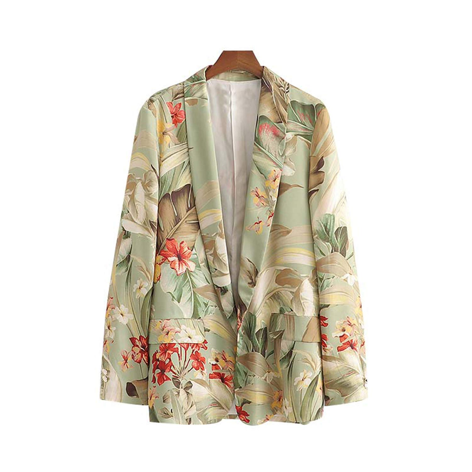 Women Floral Leaves Print Long Sleeve Blazer Notched Collar Pockets Elegant Women Casual Wear Top Blusas