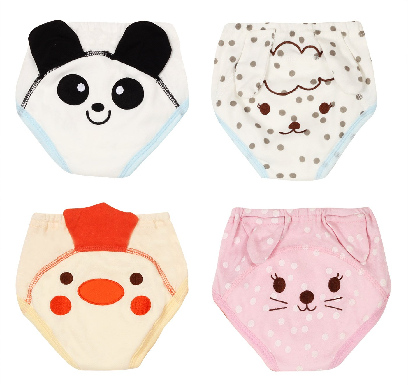 Potty Training Pants for Baby Boys Girls Soft Cotton Toddler Nappy Diaper Underwear Cat Panda Sheep Chick Size 80 Pack of 4