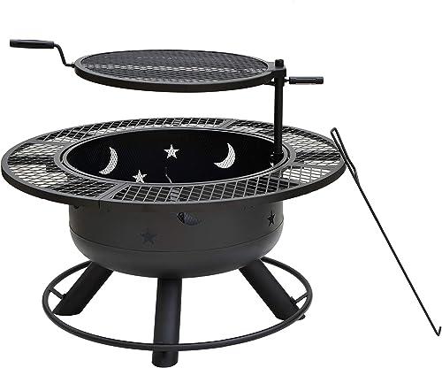 Bond Manufacturing 52124 Nightstar 32.7″ Round Wood Burning Steel Fire Pit