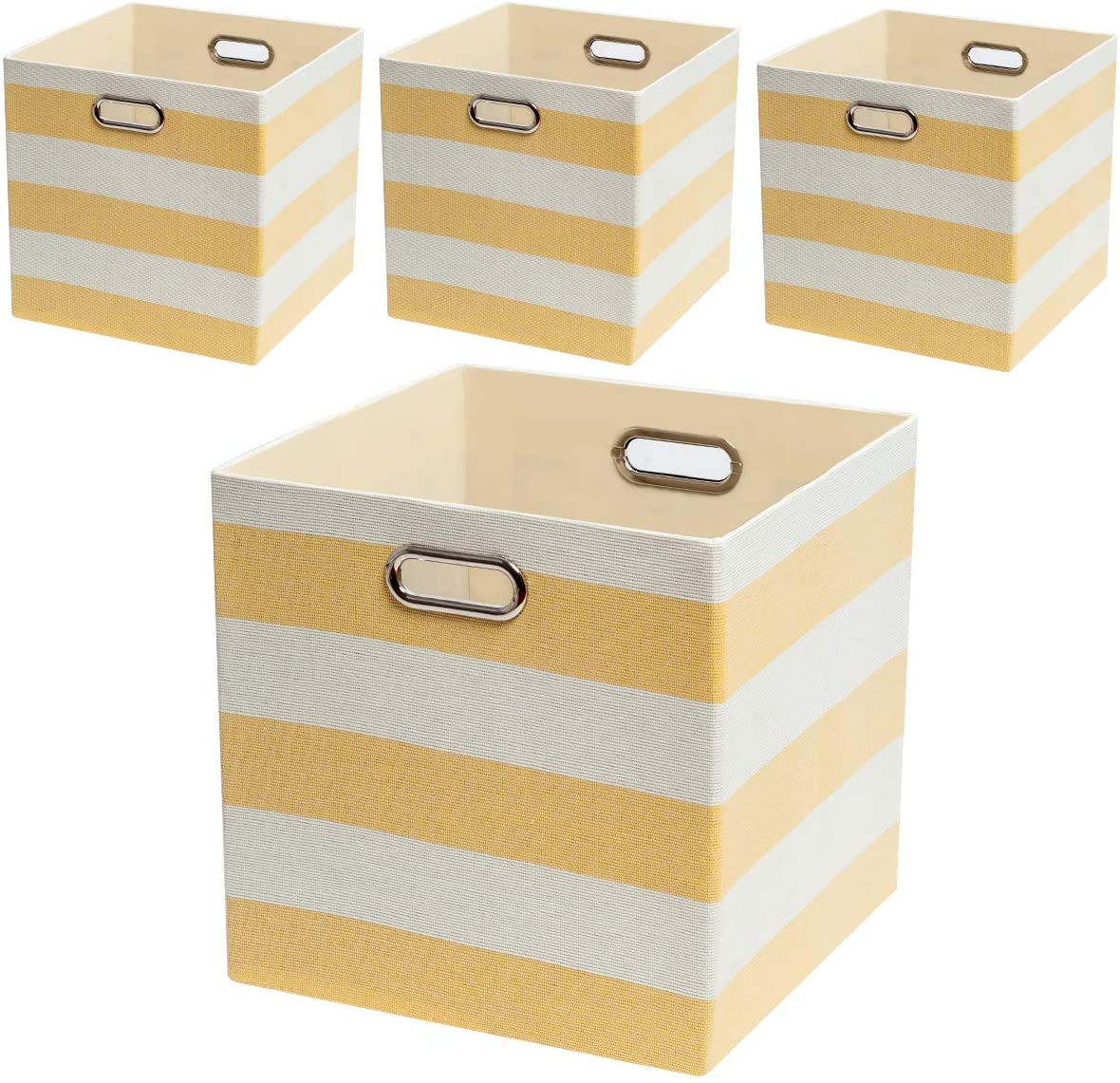 Posprica Collapsible Storage Cube Bins,13×13 Storage Boxes Basket Containers Fabric Drawers for Nurseries,Offices,Closets,Home Décor- 4pcs, Yellow Stripes