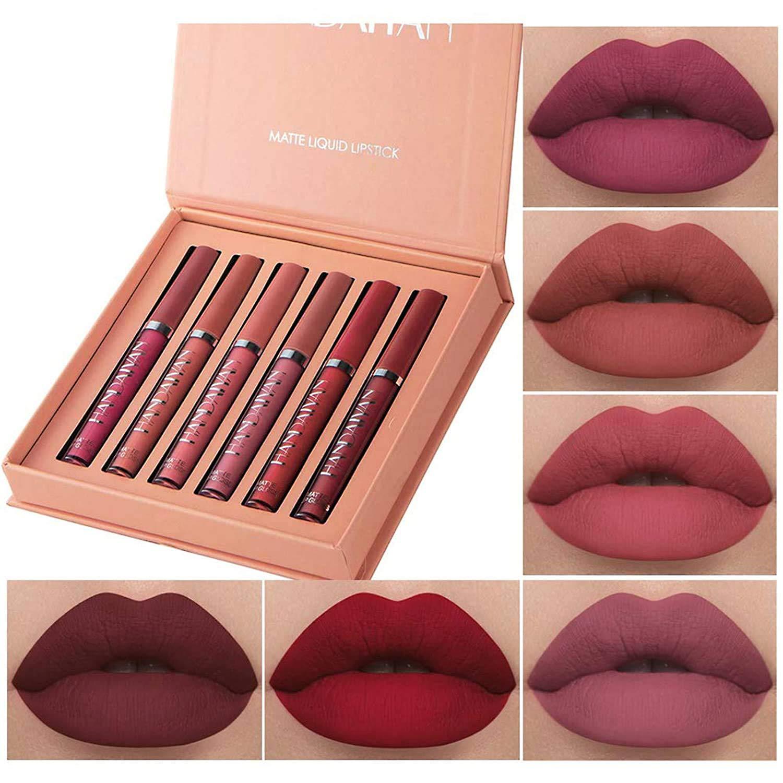 6 Colors Matte Liquid Lipstick Makeup Set, Long-Lasting Wear Non-Stick Cup Not Fade Waterproof Lip Gloss (A)