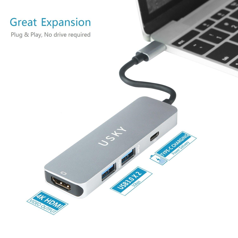 Amazon.com: USB C Hub,USB Type-C Adapter with Type-C Charging Port ...