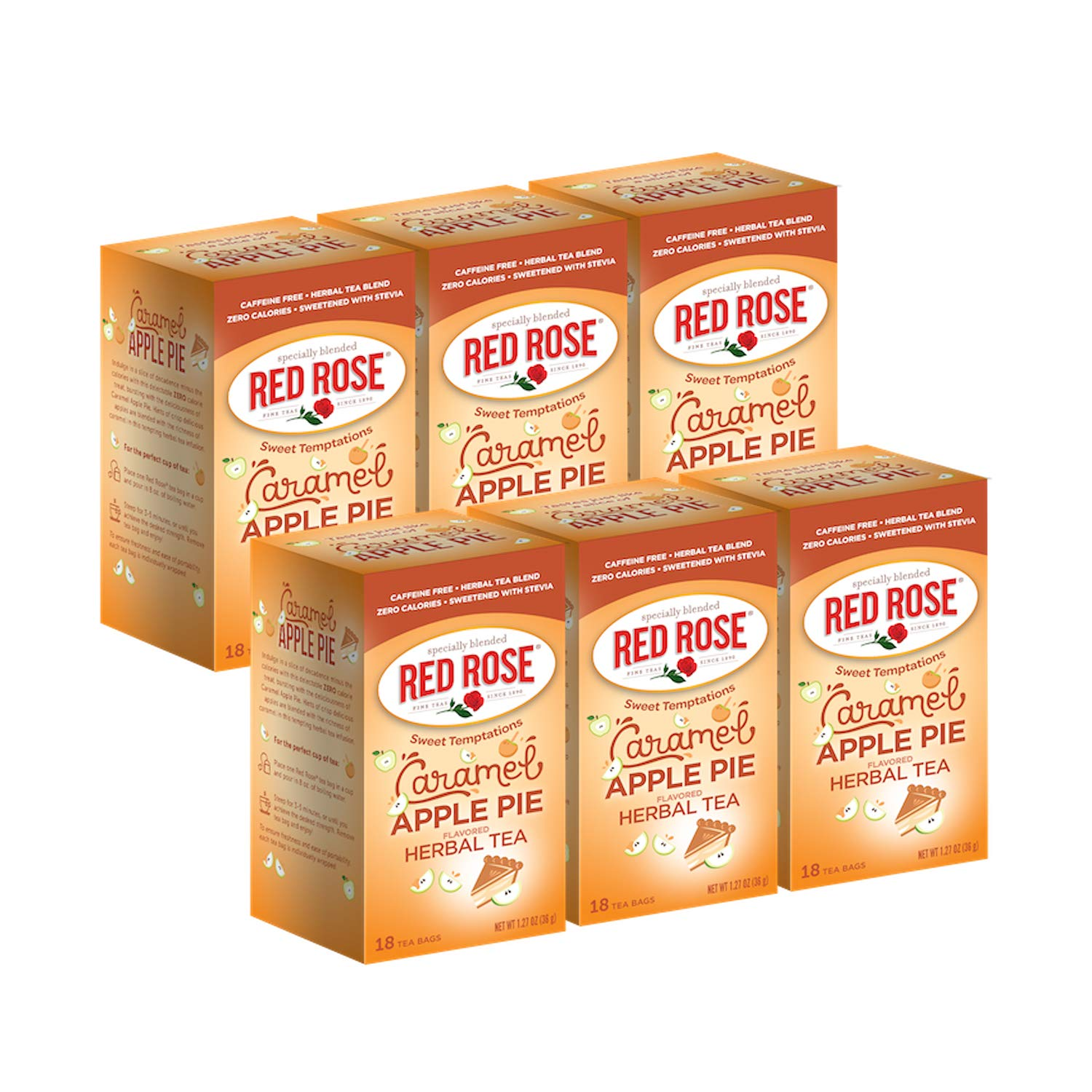 Red Rose Teas Sweet Temptations Tea, 6 Boxes of 18 (108 Tea Bags), Caramel Apple Pie