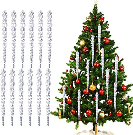 Hanging Icicle Christmas Tree Ornaments Glass Crystal Clear 12 Pcs Ornament