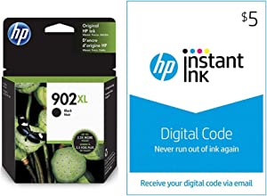 HP 902XL Ink | 1 Black Ink Cartridge | Plus $5 Instant Ink Prepaid Code