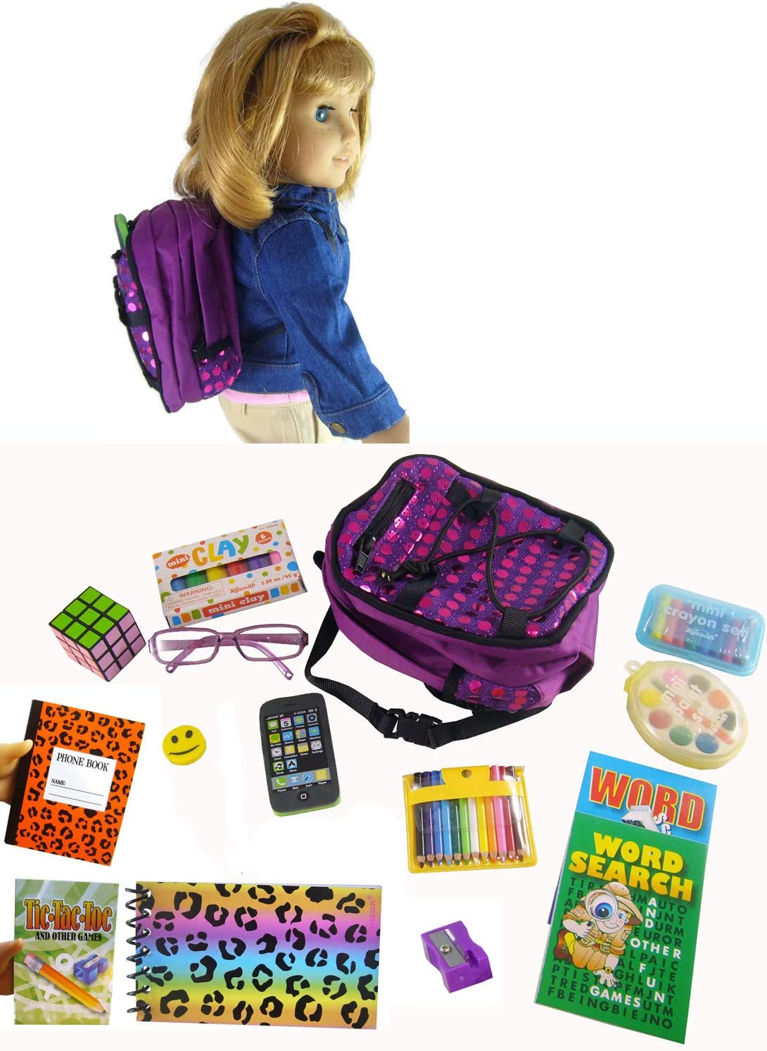 "Our Generation Off To School fits 18/"" Doll AMERICAN Girl Backpack Supplies"