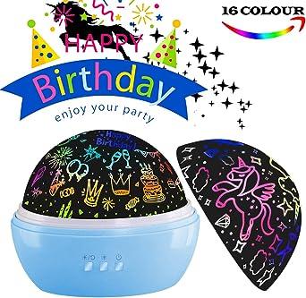Regalo de cumpleaños para niños, proyector de luz nocturna para ...