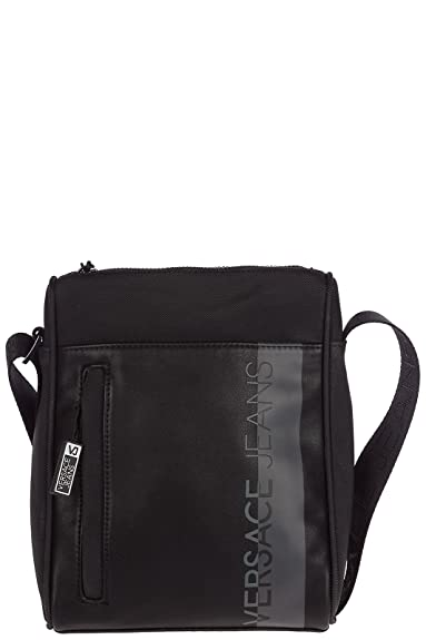 05dcf70cd5db Versace Jeans men s cross-body messenger shoulder bag macrologo black