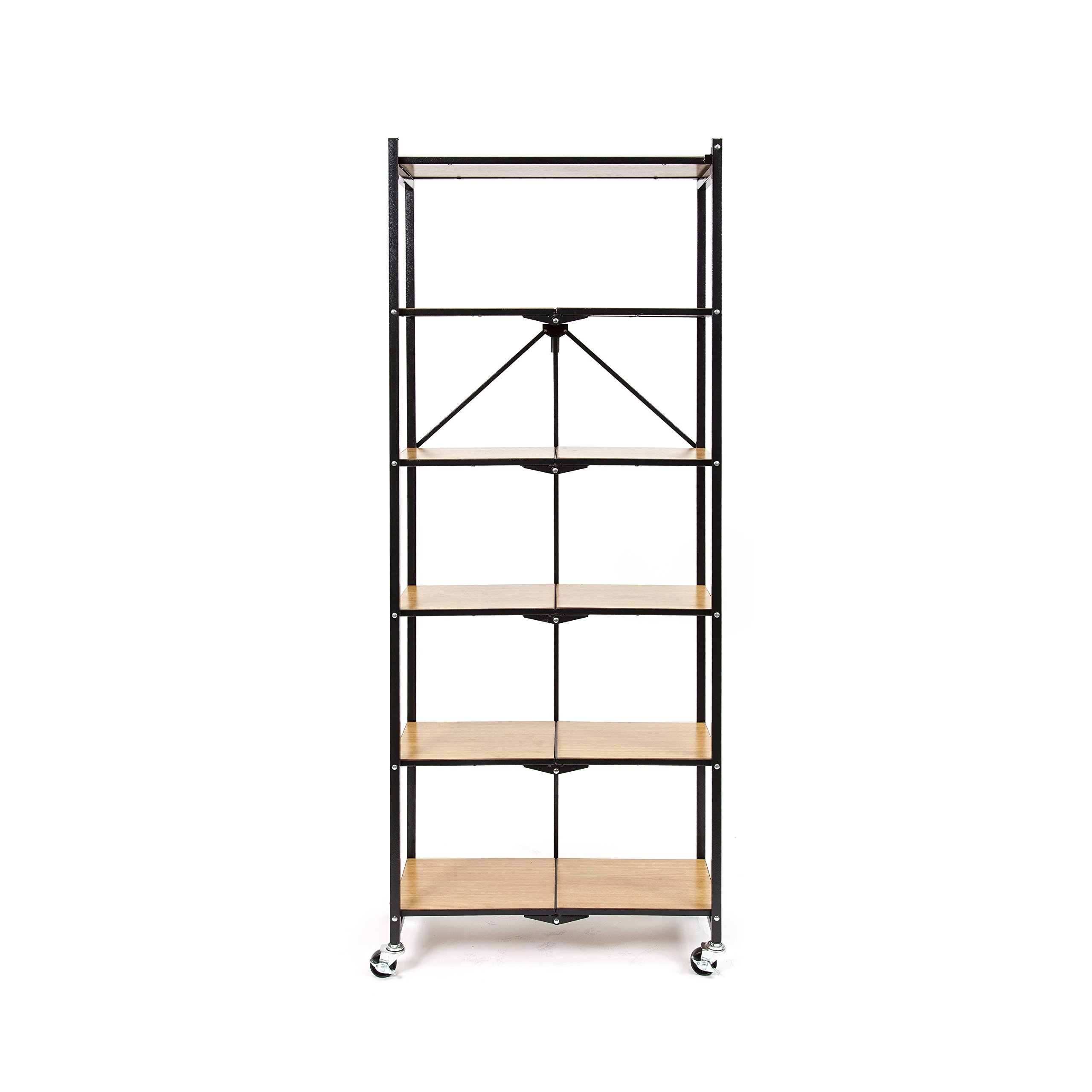 Origami R6-WB-Blkoak 6 Tier with Wood Shelves, Black
