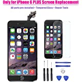 iPhone 6 Plus LCD Screen Replacement Digitizer Assembly with Proximity Sensor + Ear Speaker + Front Camera + Home Button + Screen Protector + Repair Tools - Not fit for iPhone 6S (Black)
