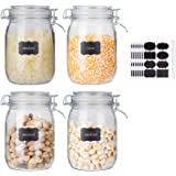 Glass Kitchen Storage Canister Mason Jars with Lids,32oz Airtight Glass Canister with Hinged Lid,Perfect for Kitchen Canning