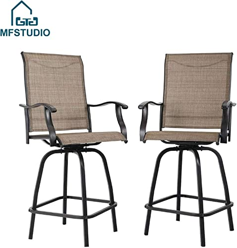 MFSTUDIO Outdoor Swivel Bar Stools Bar Height Patio Bistro Chairs with All Weather Steel Frame, Set of 2