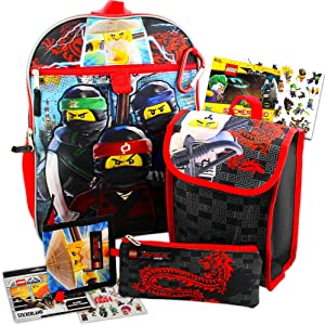 Lego Ninjago Backpack and Lunch Box Bundle with Zip Case, Wallet, and Stickers