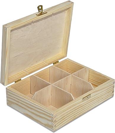 Creative Deco Caja para Té en Bolsitas Madera | 6 Compartimentos | 21 x 16 x 7 cm (+/- 0,5 cm) | Varias Medidas Disponibles | con Tapa y Cerradura | Ideal para Decoupage, Decoración y Almacenaje: Amazon.es: Hogar
