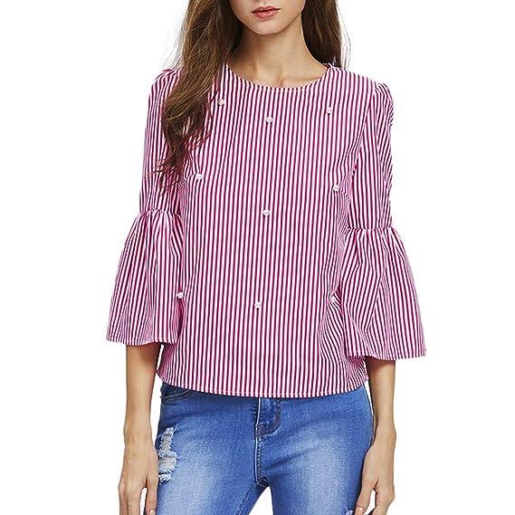 Sunnywill Camisetas Mujer Tallas Grandes Rayas Verano Originales Blusa Mujer Elegante Manga Largo Algodón Otoño Fiesta Camisas T Shirt Women Tops Invierno ...