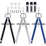 3 Pieces Math Compass Metal Geometry Compass for Math, Drafting, Drawing Student Compass with Spare Leads and Screws (Black/Silver/Blue)