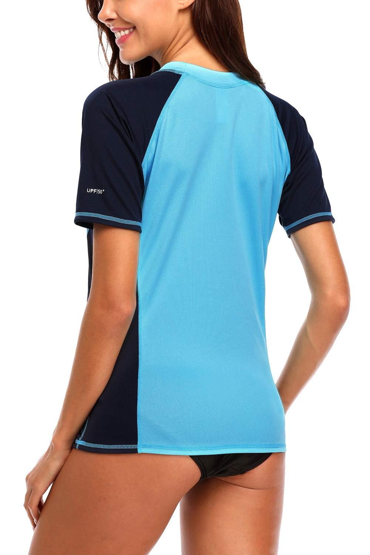 Vegatos Womens UV Swim Shirt Short Sleeve Color Block Rash Guard Swimsuit Blue M by Vegatos (Image #5)