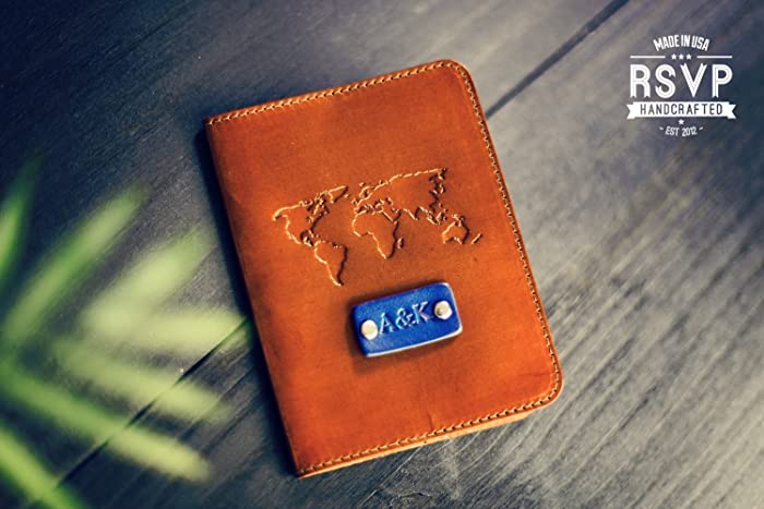 Amazon personalized leather passport cover real leather personalized leather passport cover real leather nautical holder wanderlust travel gumiabroncs Images