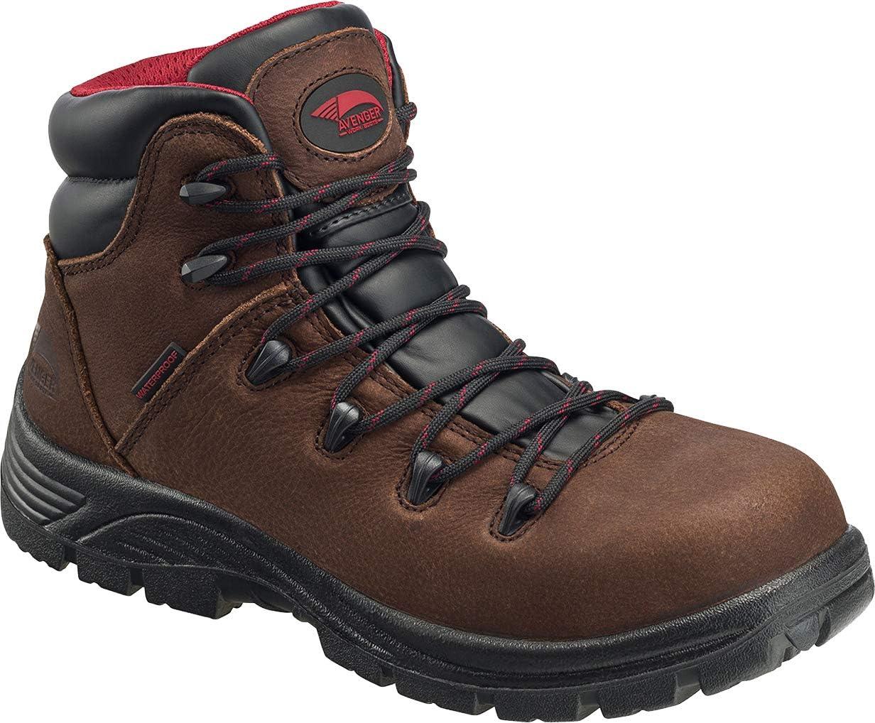 "FSI Avenger 6"" Leather Comp Toe Waterproof Puncture Resistant EH Slip Resistant Hiker, Brown, 13 Medium"