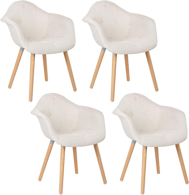Elightry Pack 4 Silla Tower Patas Madera Sillas de Comedor Cuero Sintético+PP Silla Diseño Nórdico Sillas Cocina Silla Escritorio Crema: Amazon.es: Hogar