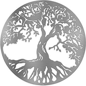 """Metal Silver Tree of Life - Steel Roots Decor Wall Art - Powder Coated Laser Cut Holes - Indoor and Outdoor Home Bedroom or Kitchen Decorations, Modern Wall Sculpture Art Round for Living Room – 18"""""""