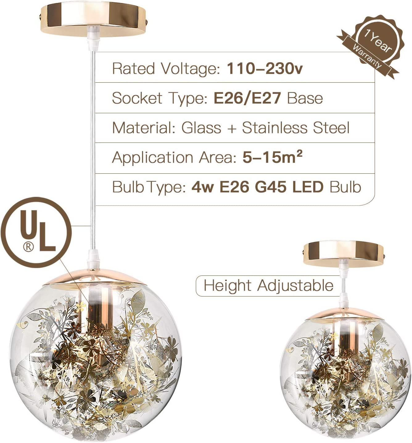 Silver UL Certified Clear Glass Pendant Light with LED Bulb for Indoor D/écor Modern Pendant Light with 7.9 Globe Round Glass Shade for Kitchen Island Dining Room JACKYLED