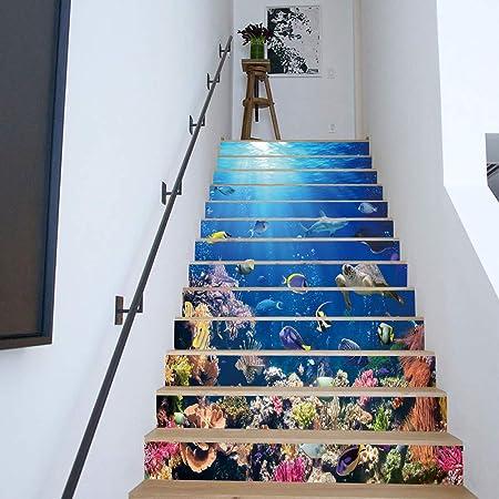 ZJING Pegatinas para escaleras de PVC Nuevas y Creativas, decoración de la habitación de los niños. Pegatinas de Pared Anti-incrustantes DIY (18CM * 100CM * 13Pcs),A: Amazon.es: Hogar