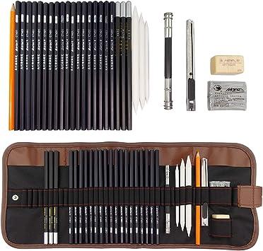 JJOnlineStore - Conjunto de lápices y Herramientas de Dibujo para jóvenes Artistas, Profesionales, Principiantes, Estudiantes, en un Estuche de Transporte de Tela: Amazon.es: Electrónica