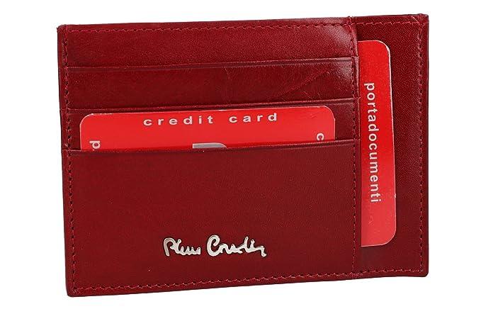 Cartera hombre PIERRE CARDIN rojo cuero bolsillo porta tarjetas VA2123