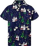 KAMEHAMEHA King Kameha Funky Hawaiian Shirt for Men Short Sleeve Front-Pocket Christmas Hats Santa Multiple Colors