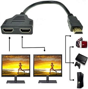 Adaptador divisor HDMI dual de 1 macho a 2 hembras Sys para TV HD LED LCD: Amazon.es: Electrónica