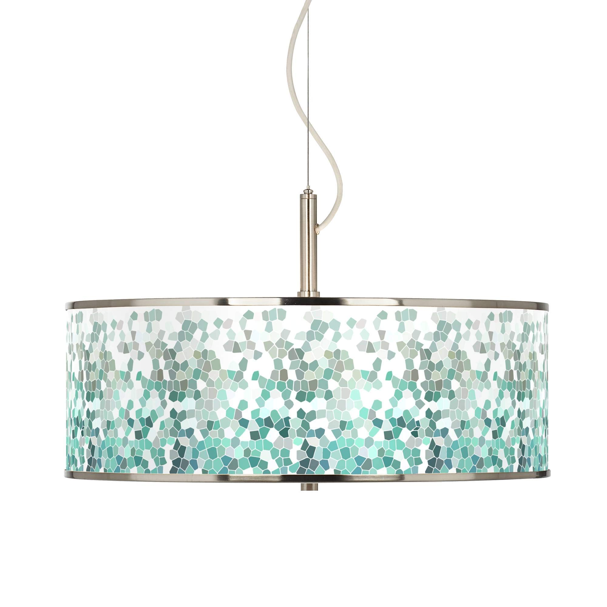Aqua Mosaic Giclee Glow 20'' Wide Pendant Light - Giclee Glow