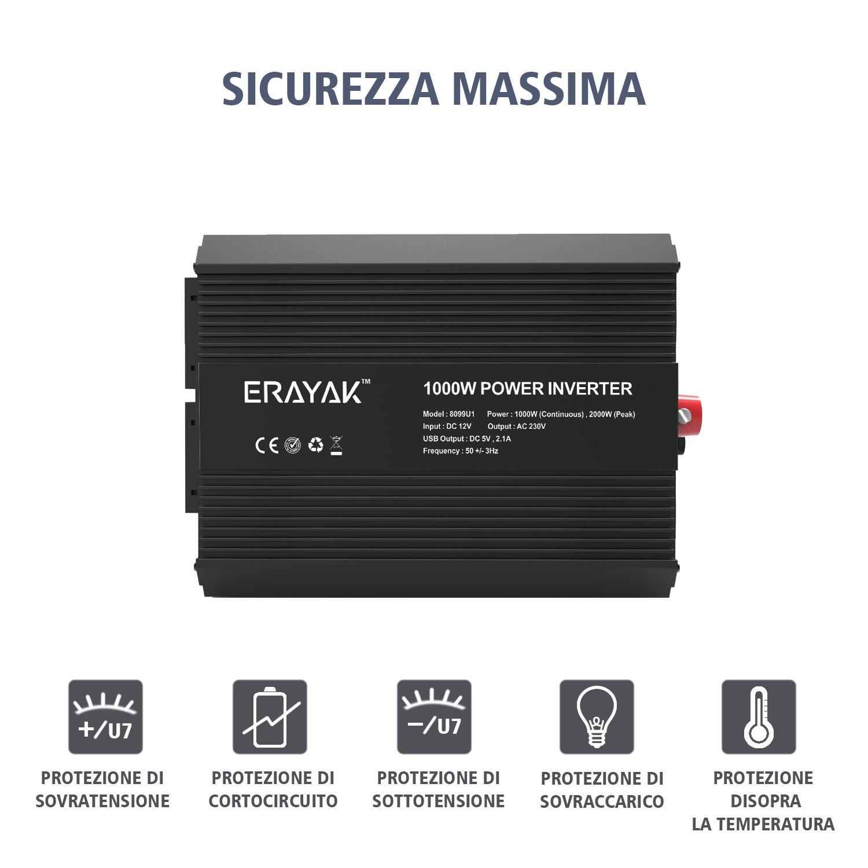 2 EU Presa ERAYAK 1000W Power Inverter per Auto DC 12V a AC 220V Trasformatore Inverter di Potenza Convertitore Multipla Protezione Inverter di Tensione con Porta USB 5V//2.1A Picco 2000W
